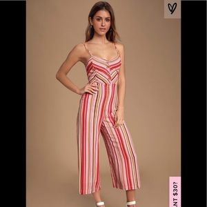 Lulus Fuchsia Striped Tie Back Culotte Jumpsuit